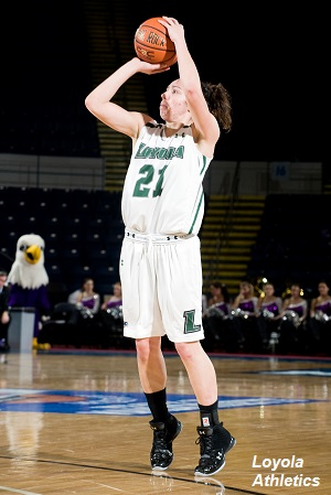 Senior Katie Sheahin recorded her seventh-career double-double with 17 points and 10 rebounds in her final home game.