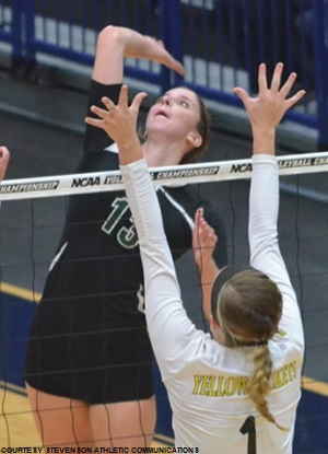 Kristen Brooks had a near double-double in her final career volleyball match, finishing with nine kills and 10 digs against Randolph-Macon.